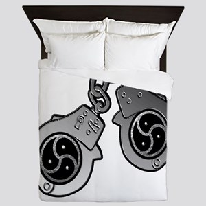 Metal Handcuffs and BDSM Symbol Queen Duvet